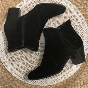 Leather suede ankle booties with fringe
